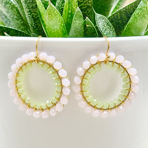 Pale Pink & Pale Mint Green Double Beaded Round Earrings