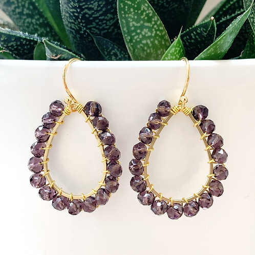 Sparkly Grape Teardrop Beaded Earrings