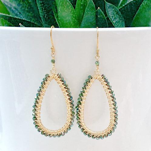 Green Pyrite Teardrop Beaded Earrings
