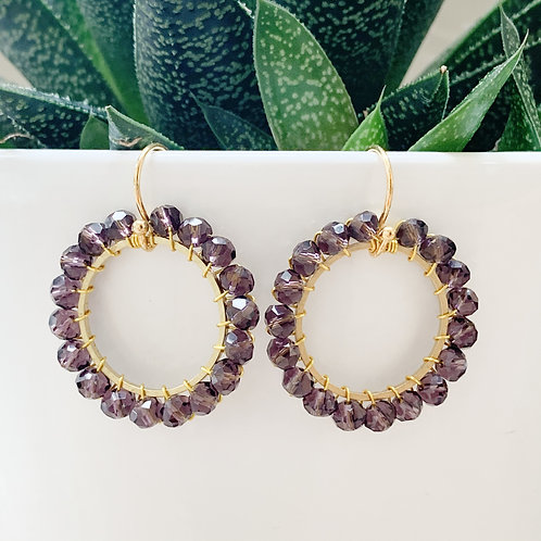 Sparkly Grape Round Beaded Earrings