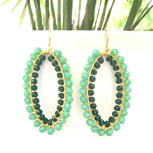 Mint Green & Emerald Green Double Beaded Oval Earrings