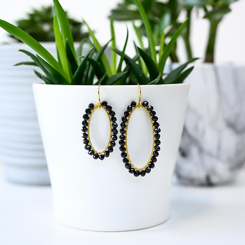 Black Oval Beaded Earrings