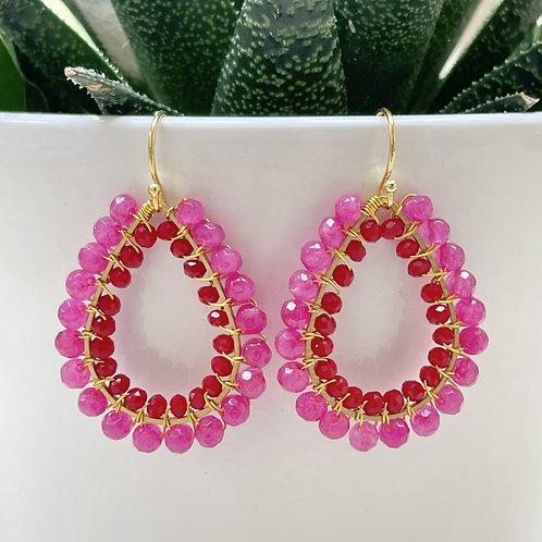 Hot Pink Agate & Ruby Red Double Beaded Teardrop Earrings