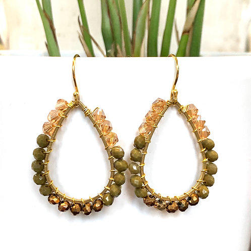 Champagne, Khaki & Bronze Teardrop Beaded Earrings