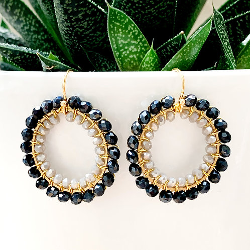 Sparkly Black & Sparkly Grey Double Beaded Round Earrings