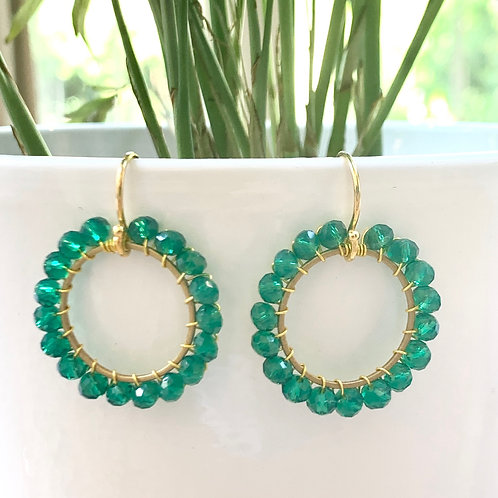 Sparkly Teal Round Beaded Earrings