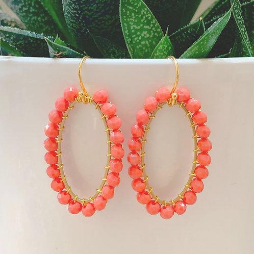 Coral Oval Earrings