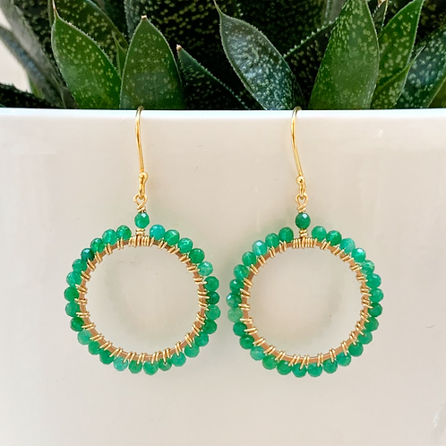 Emerald Green Jade Round Beaded Earrings