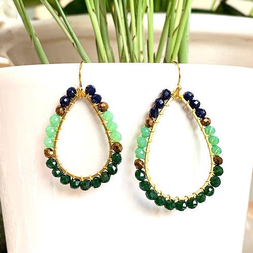 Midnight Blue, Mint Green, Bronze & Emerald Green Teardrop Beaded Earrings