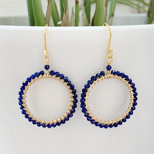 Blue Lapis Lazuli Round Beaded Earrings