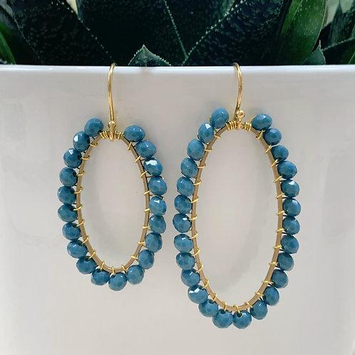 Airforce Blue Oval Earrings