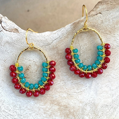 Ruby Red & Turquoise Double Beaded 3/4 Oval Earrings