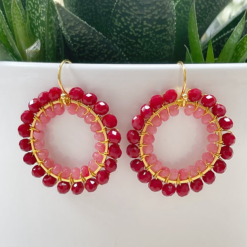Ruby Red & Candy Pink Agate Double Beaded Round Earrings