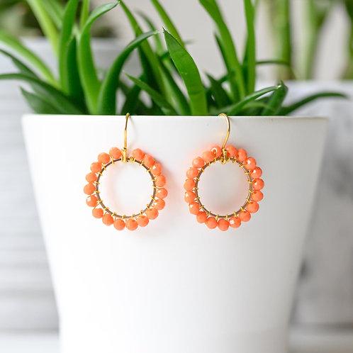 Orange Round Beaded Earrings