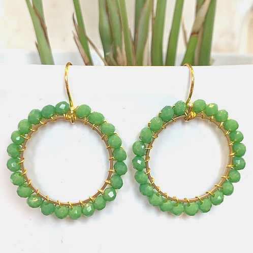 Grass Green Round Beaded Earrings