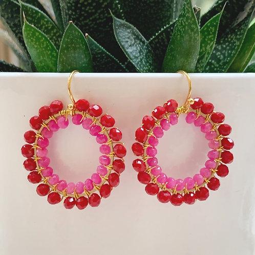 Ruby Red & Candy Pink Double Beaded Round Earrings