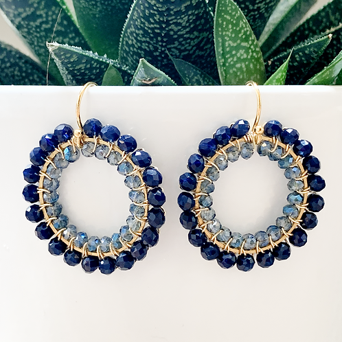 Midnight Blue & Translucent Grey Blue Round Double Beaded Earrings