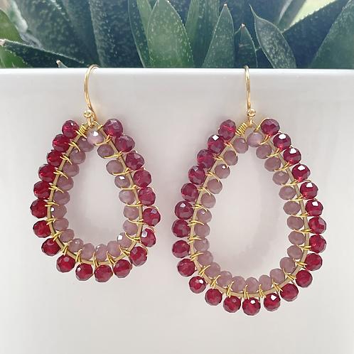 Burgundy Red & Dusky Pink Double Beaded Teardrop Earrings