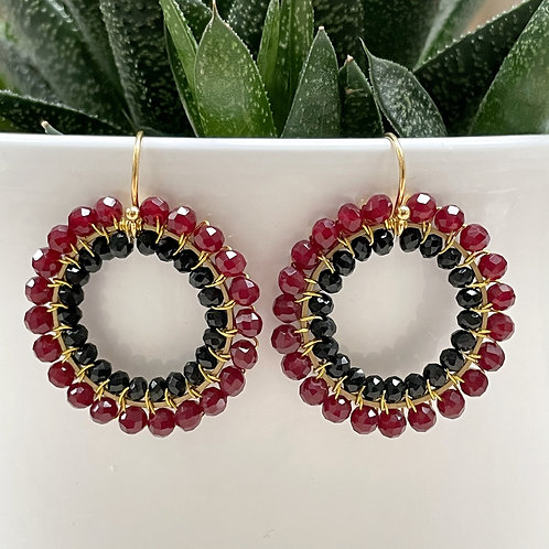 Burgundy & Black Double Beaded Round Earrings