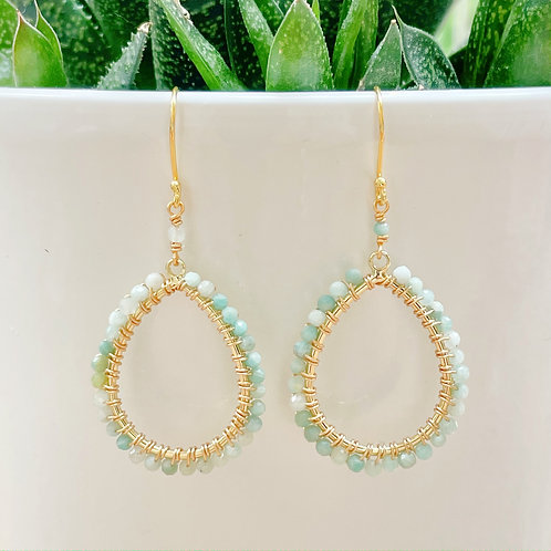 Amazonite Peardrop Beaded Earrings