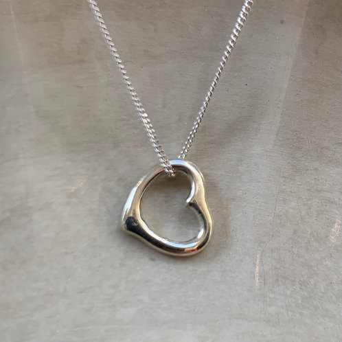 Large Heart Pendant Necklace - Sterling Silver