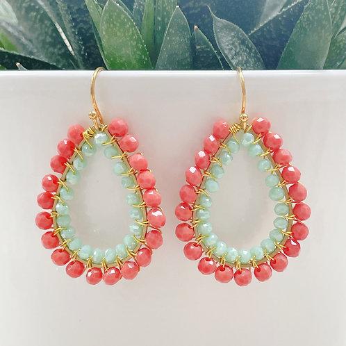 Coral & Pale Mint Green Double Beaded Teardrop Earrings