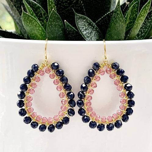 Midnight Blue & Sparkly Pink Jade Double Beaded Teardrop Earrings