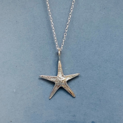 Starfish on Plain Necklace - Sterling Silver