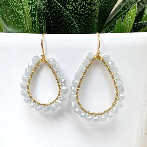 Pale Grey Teardrop Earrings