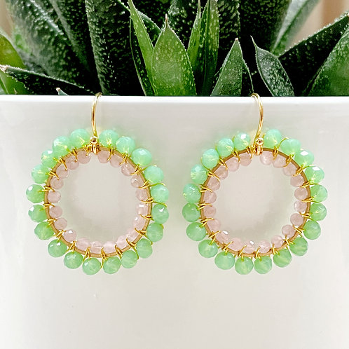 Sparkly Mint Green & Pale Pink Double Beaded Round Earrings