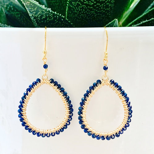 Blue Lapis Lazuli Peardrop Beaded Earrings