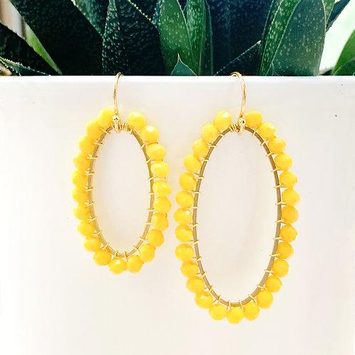 Yellow Oval Beaded Earrings