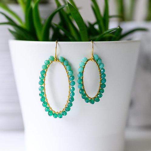 Turquoise Ombré Oval Beaded Earrings