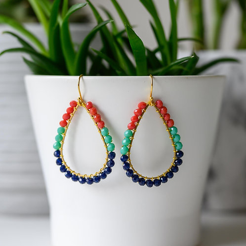 Ruby Red, Turquoise & Oxford Blue Teardrop Beaded Earrings