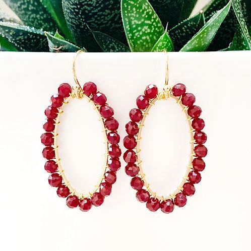 Burgundy Oval Earrings