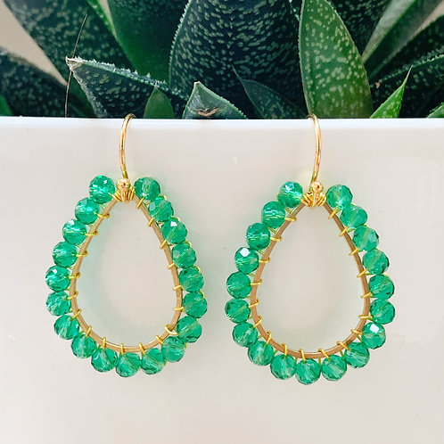 Sparkly Teal Teardrop Beaded Earrings