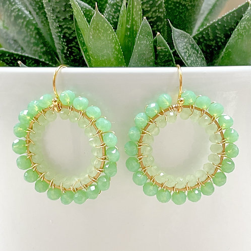 Sparkly Mint Green & Pale Mint Green Double Beaded Round Earrings