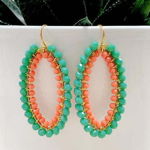 Seafoam & Coral Double Beaded Oval Earrings