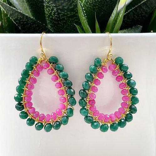 Emerald Green Agate & Hot Pink Agate Double Beaded Teardrop Earrings
