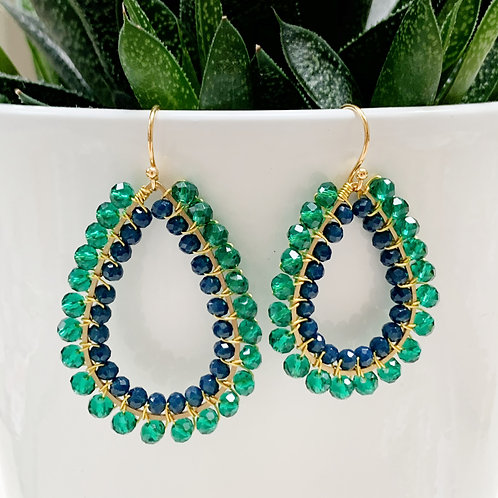 Sparkly Teal & Oxford Blue Double Beaded Teardrop Earrings