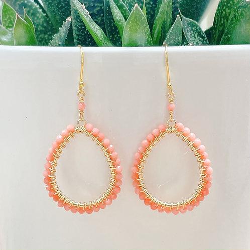 Coral Peardrop Beaded Earrings