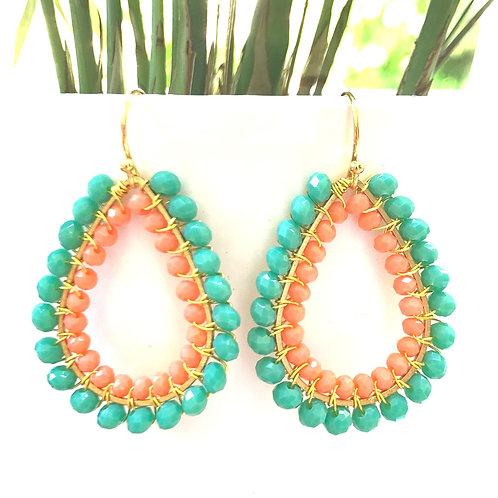 Seafoam & Coral Double Beaded Teardrop Earrings