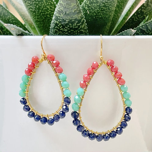 Ruby Red, Turquoise & Oxford Blue Teardrop Beaded Earrings