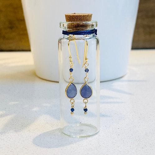 Blue Sodalite Triple Drop Earrings in Corked Tube