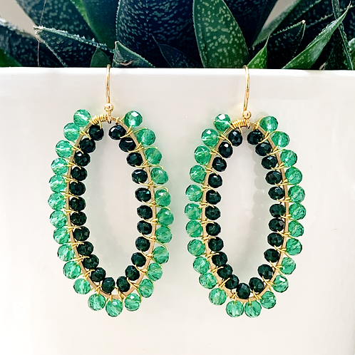 Sparkly Teal & Emerald Green Double Beaded Oval Earrings