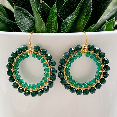 Emerald Green & Sparkly Teal Beaded Round Earrings