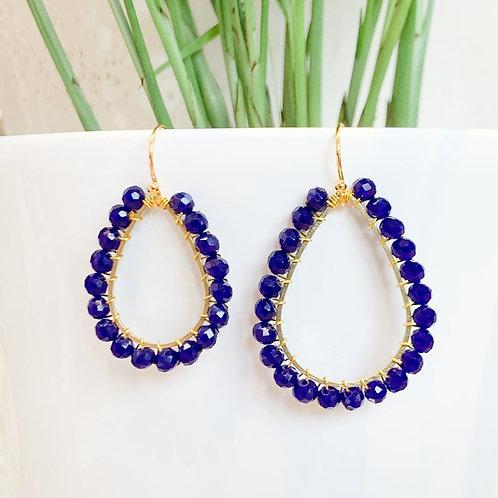 Electric Blue Teardrop Beaded Earrings