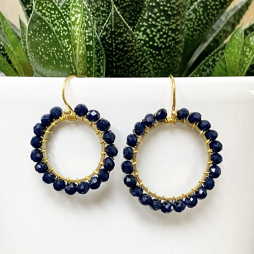 Midnight Blue Round Beaded Earrings
