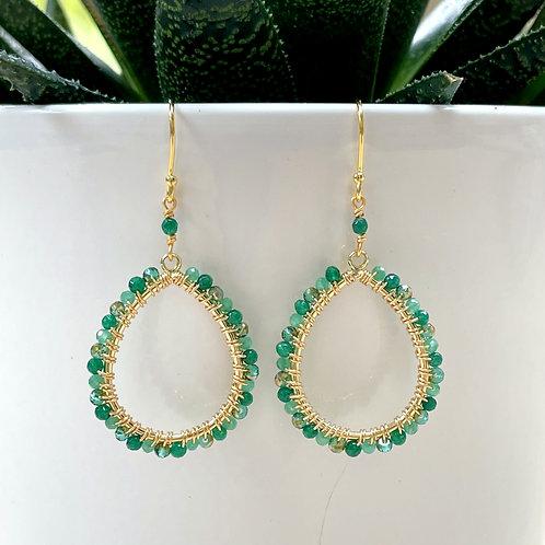 Green Jade Ombré Peardrop Beaded Earrings