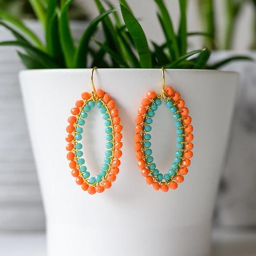 Orange & Turquoise Double Beaded Oval Earrings